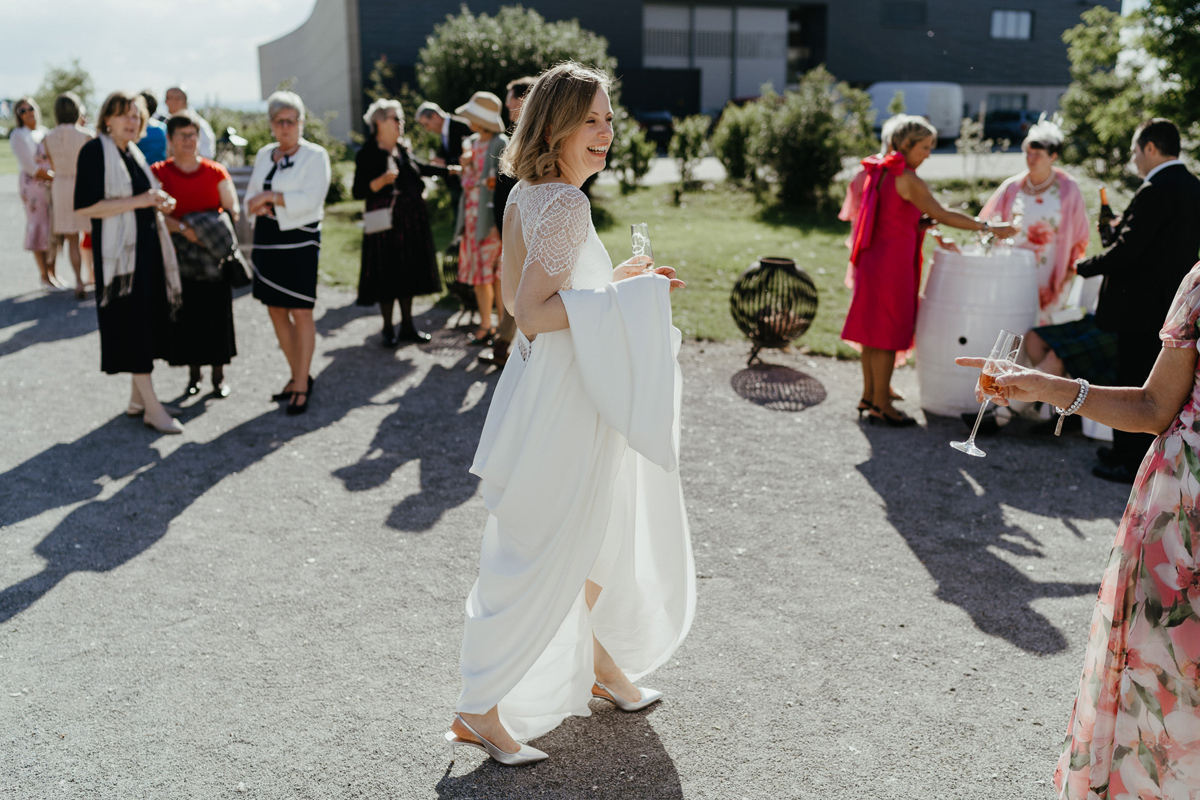 Kalandahaus Esterhazy Winery wedding reception, bride walking