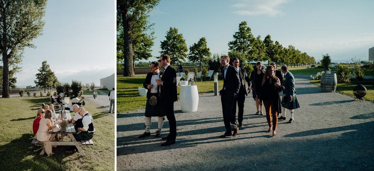wedding guests outside at Kalandahaus Esterhazy Winery wedding reception