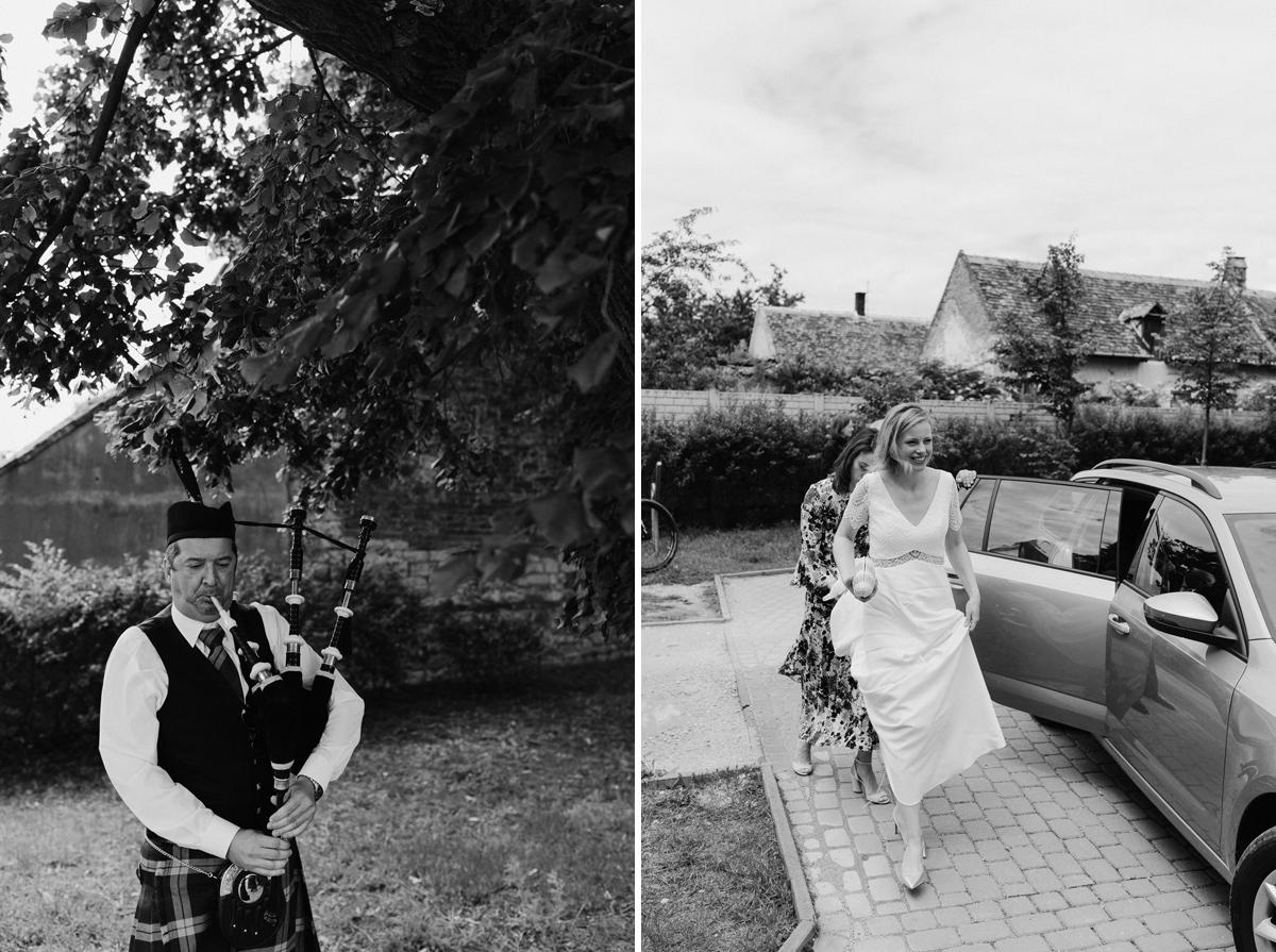 Brida arrives to wedding location