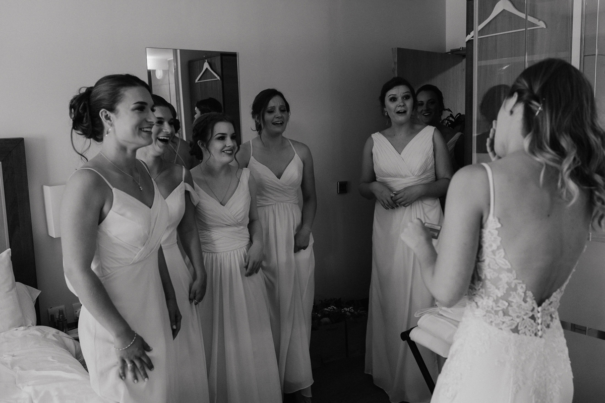 bride getting ready in Quorn Hotel and bridesmaids