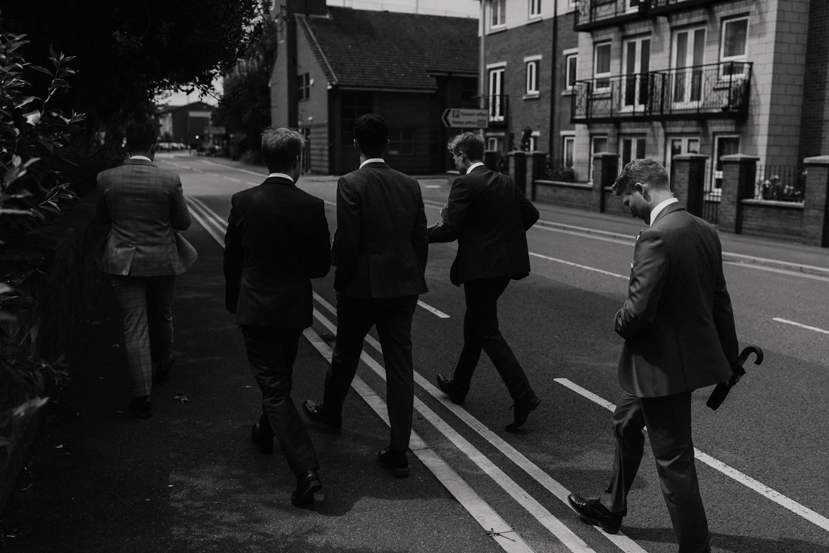 groomsmen walking in Loughborough