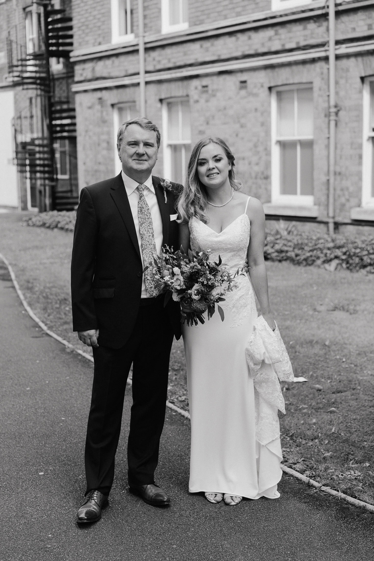 Bride and her Father at the Loughborough registry Office