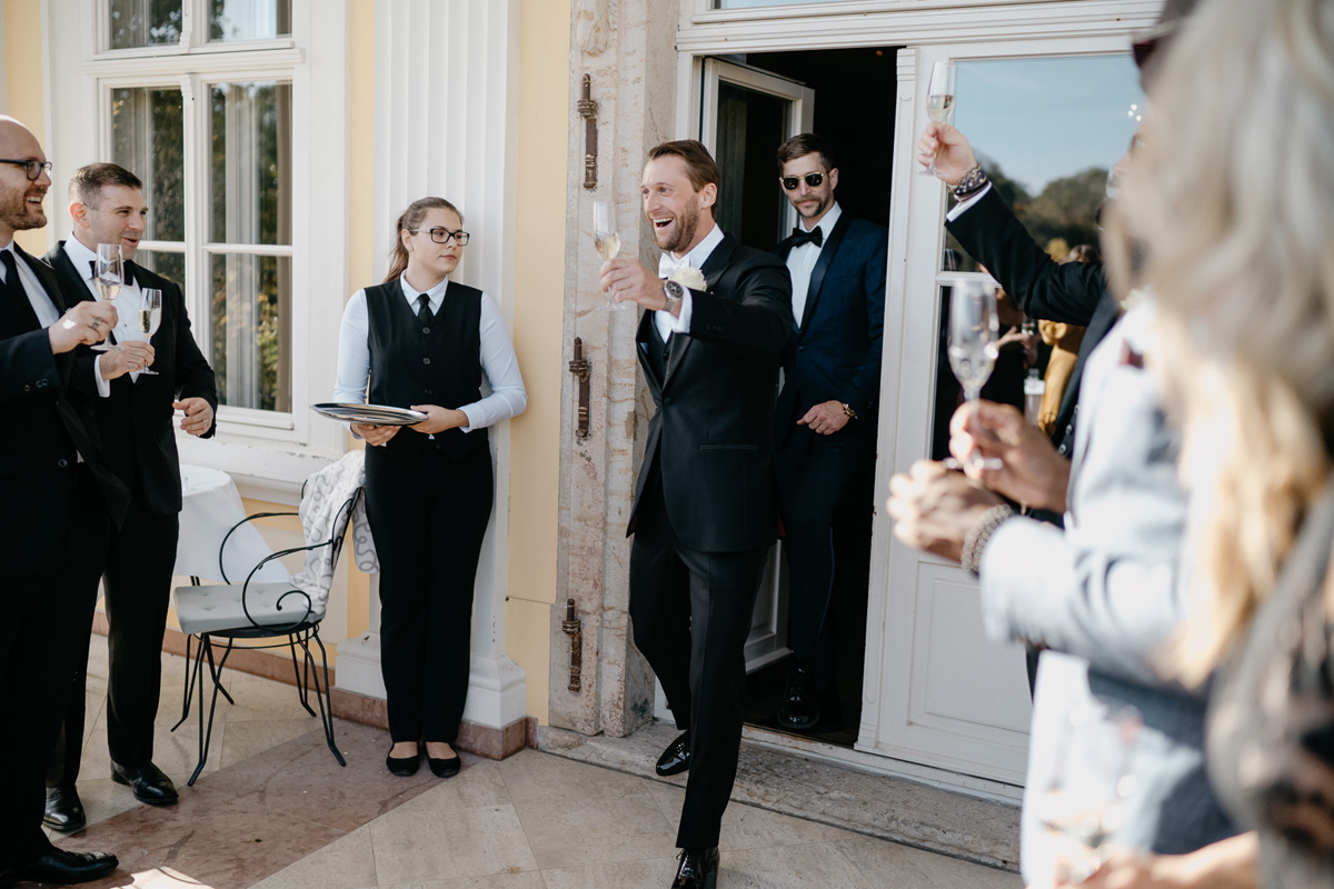 Groom welcoming Wedding guests in Hotel Chateau Bela