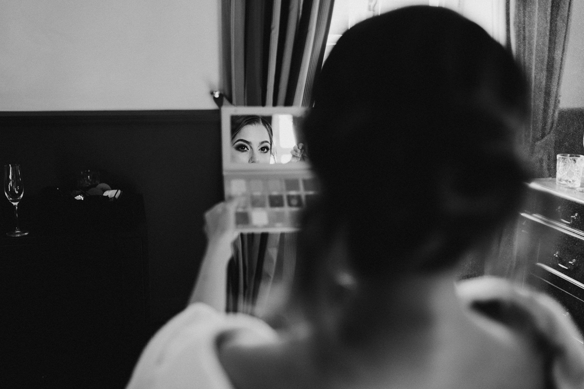 Bride getting ready in Chateau Bela wedding Venue
