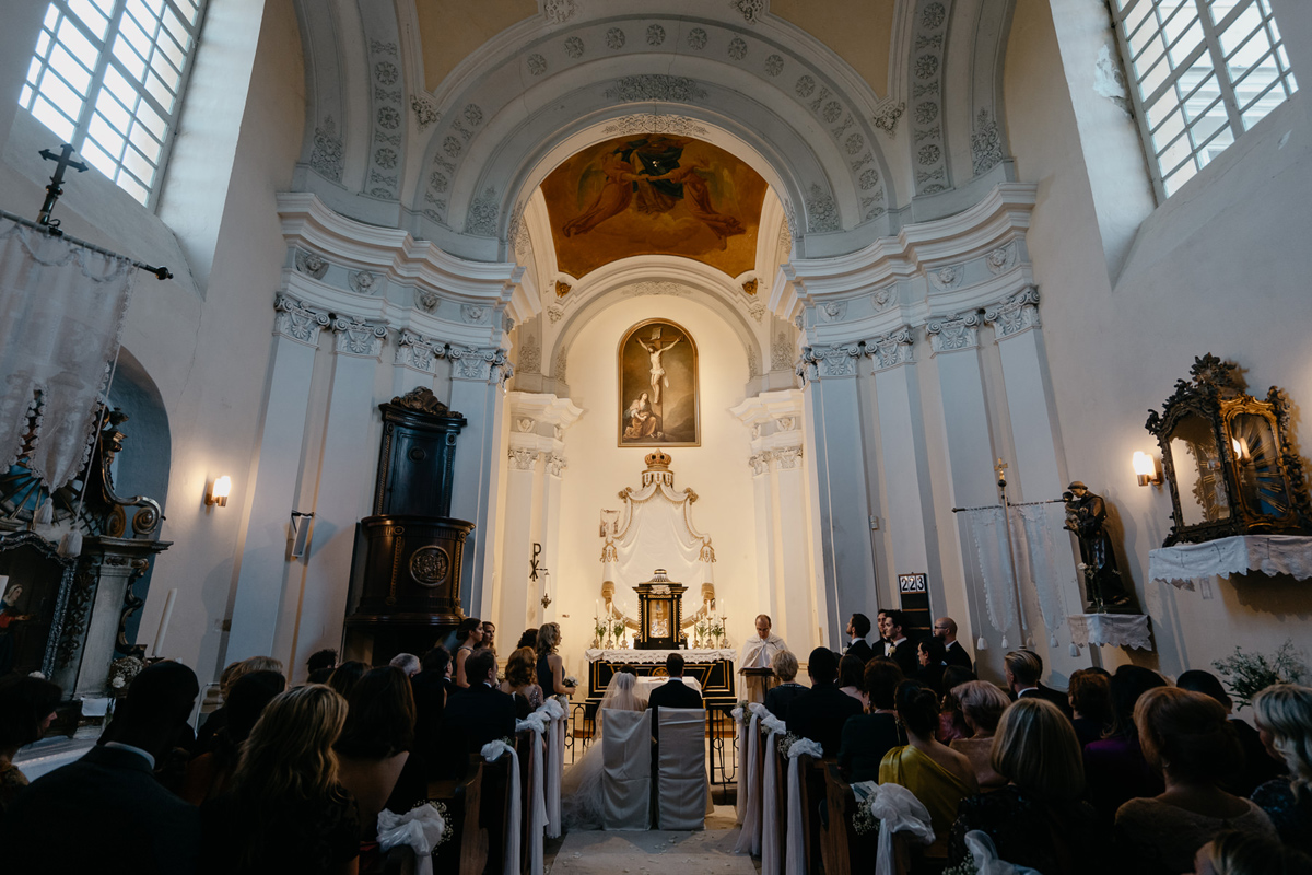 Church ceremony in chapel of Chateau Bela Slovakia