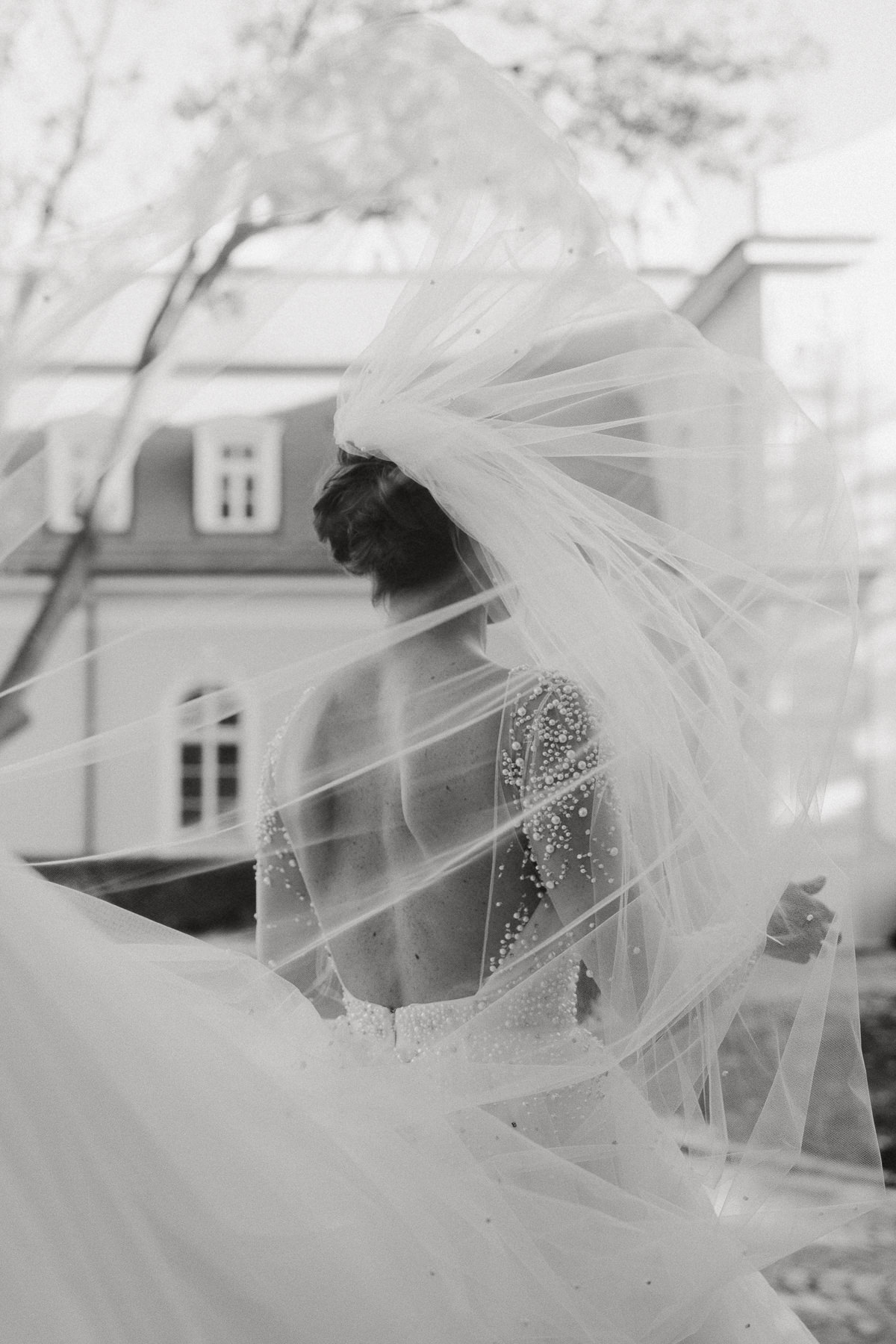 Brides veil flying in the wind