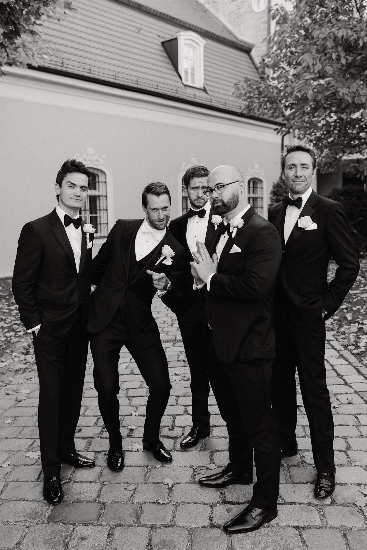 groomsmen portrait in Chateau Bela