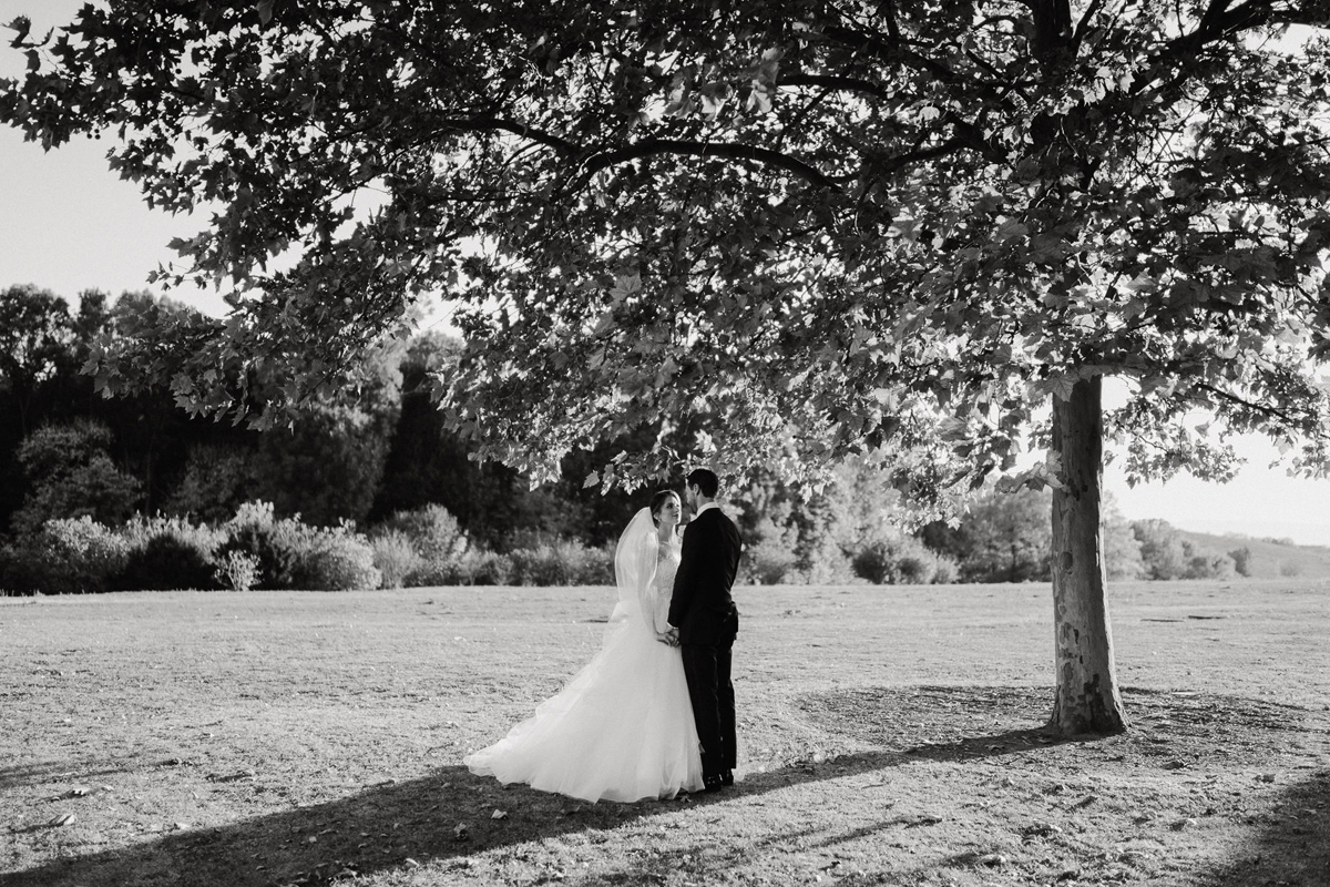 Wedding couple portraits at Chateau Bela Slovakia black and white