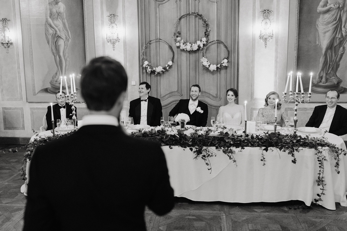 Speeches in Chateau Bela ballroom