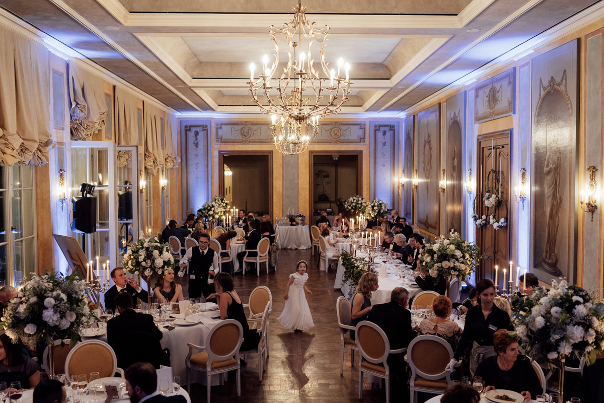 wedding dinner reception in Ballroom of Chateau Bela