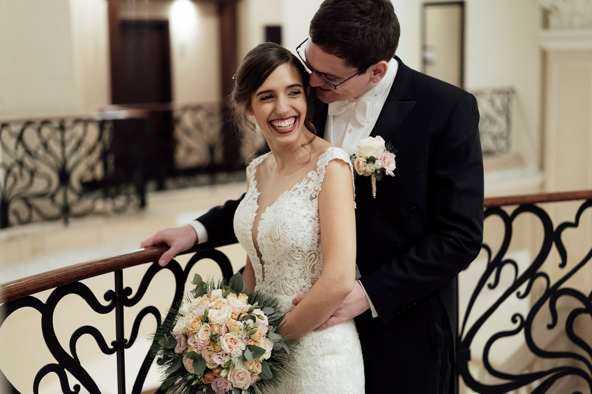 Bride and groom portrait in Corinthia Hotel Budapest