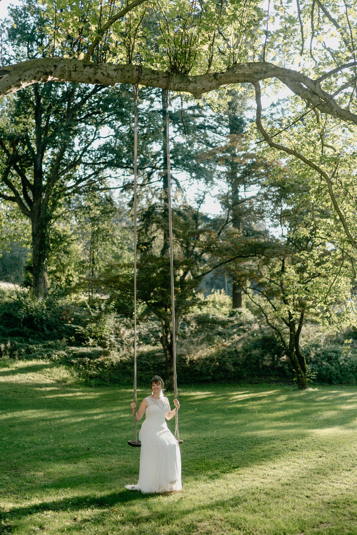 Bridal portrait on a swing