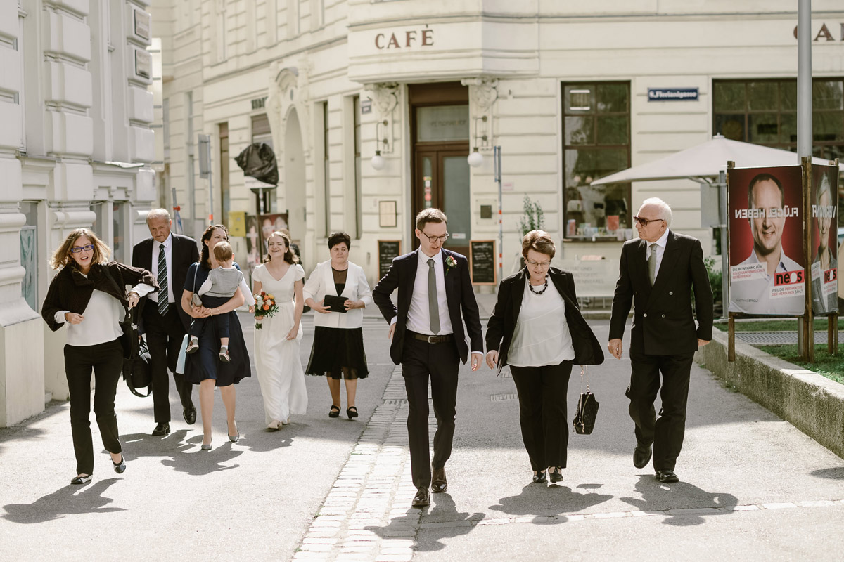 wedding party on the streets in Vienna
