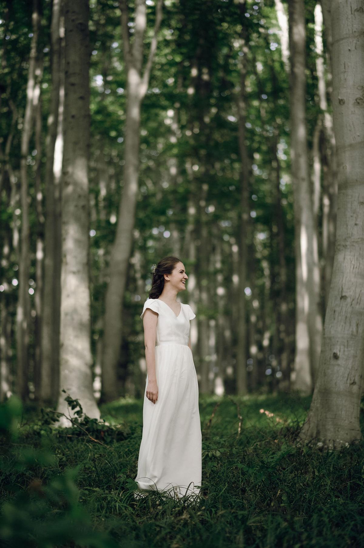 Bride portrait in forest near Vienna