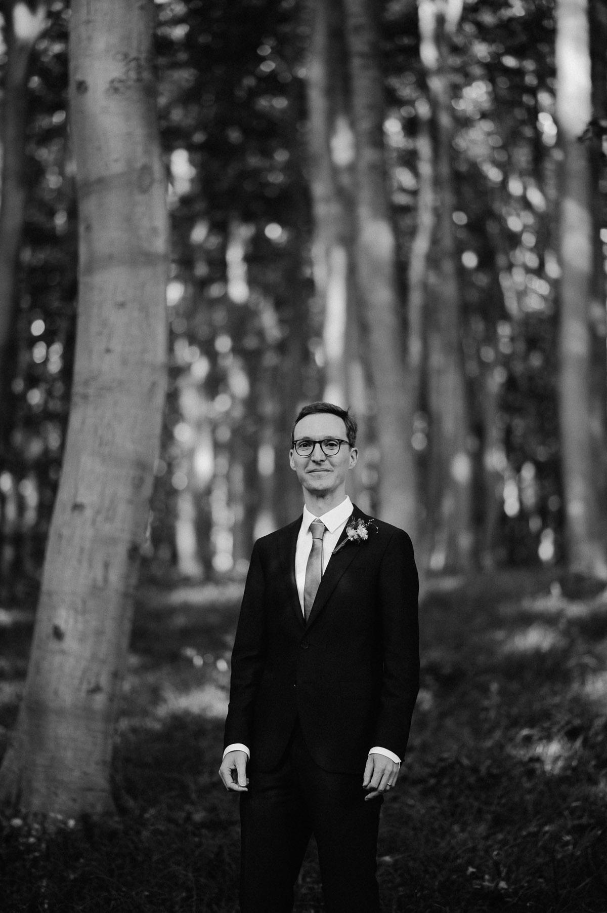 Groom portrait in forest near Vienna